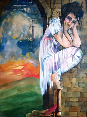 Mushroom Cloud Angel Watercolor Chair Brick Wall Green Hills White Dress Drawing - Angel And The Mushroom Cloud by Jackie Rock