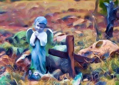 Digital Art - Angel Blue by Lou  Novick