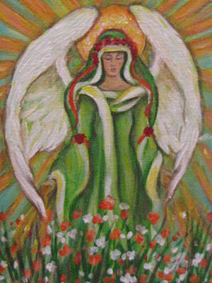 Angel In The Garden Art Print by Radha Flora Cloud