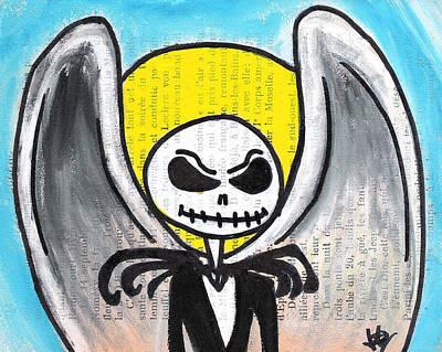 Cemetary Drawing - Angel Jack Skellington by Jera Sky