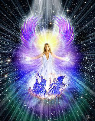 Digital Art - Angel Of Divine Energy by Endre Balogh