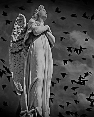 Angelic Mixed Media - Angel Of Stone Bw by David Dehner