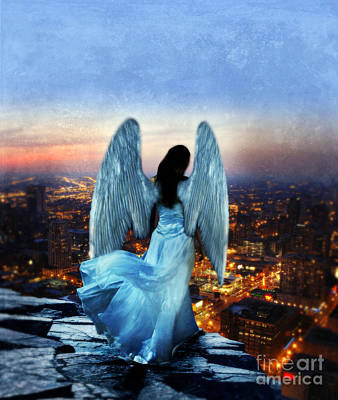 Angel On Rocky Ledge Above City At Night Art Print by Jill Battaglia
