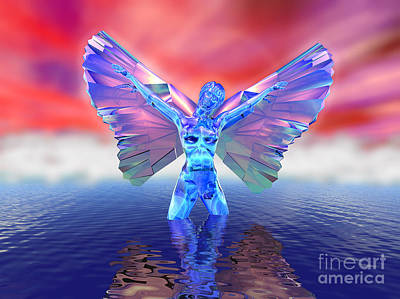 Glassy Wing Digital Art - Angel On The Water by Ricky Schneider