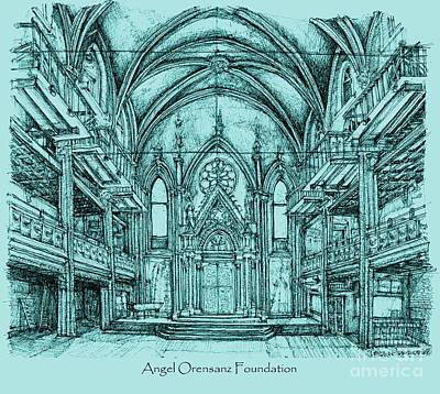 Synagogue Drawing - Angel Orensanz In Blue by Adendorff Design