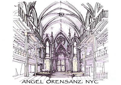 Lower East Side Drawing - Angel Orensanz Ink  by Building  Art