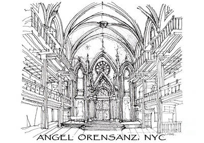 Lower East Side Drawing - Angel Orensanz Sketch With Title by Building  Art