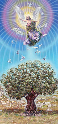 Angel Over The Olive Tree Art Print by Miguel Tio