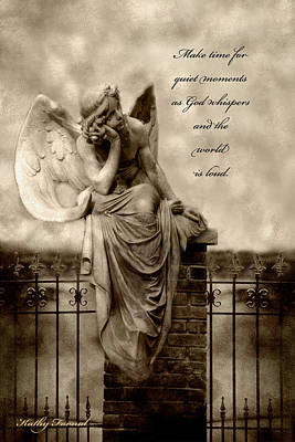 Coffin Photograph - Angel Resting On Fence Inspirational Angel Art by Kathy Fornal