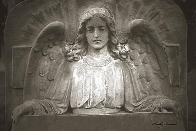 Angel Sitting At Grave  - Guardian Angel  Art Print