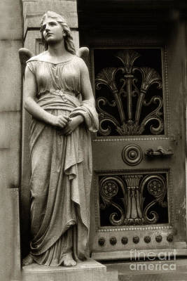 Grave Photograph - Angel Statue Standing At Mausoleum Door  by Kathy Fornal