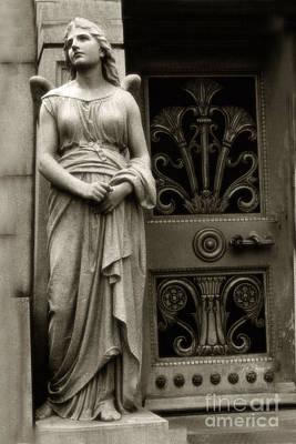 Angel Statue Standing At Mausoleum Door  Art Print