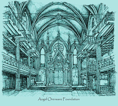 Times Square Drawing - Angel Vizcaya Foundation Venue In Nyc by Building  Art