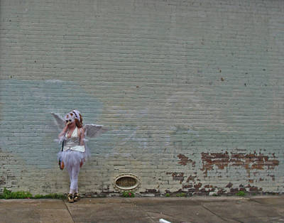 Angel With A Cell Phone On Mardi Gras Day In New Orleans Art Print