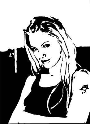 Sharpie Art Drawing - Angelina Jolie- Sway by Deborah Lepor