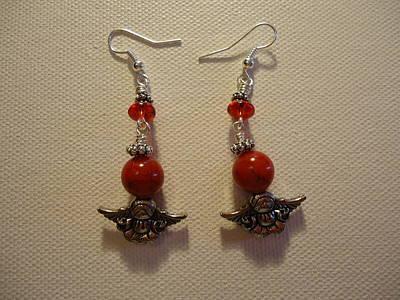 Angels In Red Earrings Original by Jenna Green