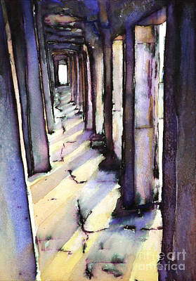 Cambodia Painting - Angkor Wat Corridor2 by Ryan Fox