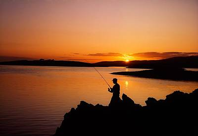 Hobbies And Collections - Art And Photograph - Angler At Sunset, Roaring Water Bay, Co by The Irish Image Collection