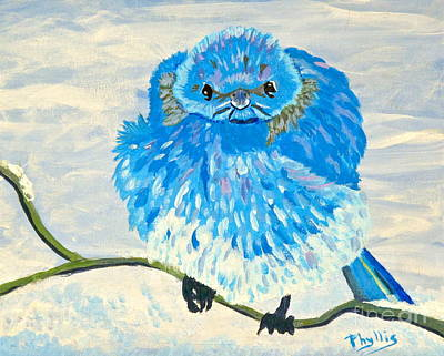 Painting - Angry Blue Bird by Phyllis Kaltenbach