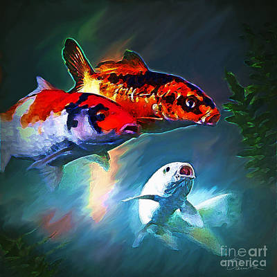 Koi Digital Art - Angry Fish by Danuta Bennett