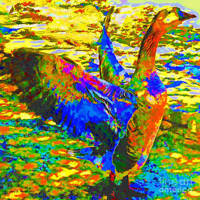 Mixed Media - Angry Goose by Jerry L Barrett