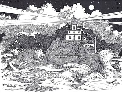 Seacoast Drawing - Angry Sea by Bill Friday