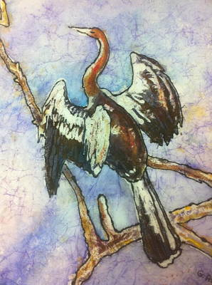 Anhinga Painting - Anhinga Dries His Wings by Gloria Avner