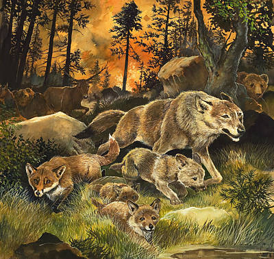 Wood Fire Painting - Animals United In Terror As They Flee From A Forest Fire by G W Backhouse