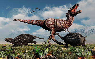 Ankylosaurus Dinosaurs Defend Print by Mark Stevenson