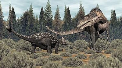 Digital Art - Ankylosaurus Vs Acrocanthosaurus by Walter Colvin