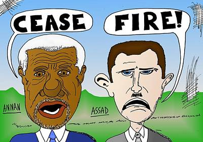 Annan Assad Cease Fire Cartoon Original
