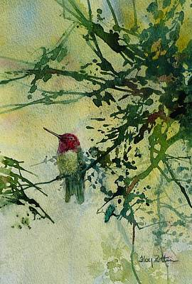 Wall Art - Painting - Anna's Hummingbird by Floy Zittin