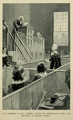 Anne Hutchinson, Charged With Heresy Art Print