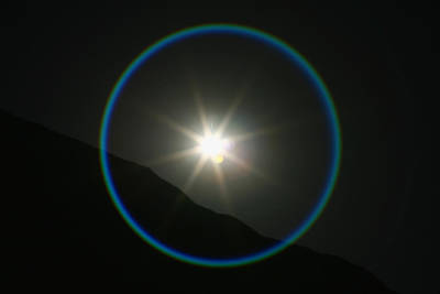 Art Print featuring the photograph Annular Solar Eclipse - Blue Ring At Vasquez Rocks by Lon Casler Bixby