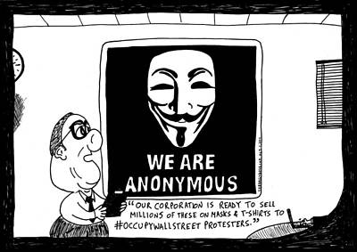 Occupy Drawing - Anonymous Business Cartoon by Yasha Harari