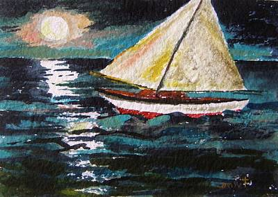 Sea Moon Full Moon Drawing - Another Moonlit Sail by John Williams