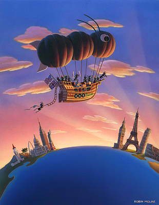 Ant Painting - Ant Airship  by Robin Moline