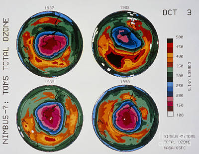 Antarctic Ozone Hole Toms Comparison Print by NASA / Science Source