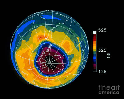 Antarctic Ozone Hole Toms Total Ozone Print by NASA / Science Source