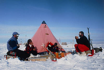 Antarctic Research Team Relaxing Outside Tent Art Print by David Vaughan