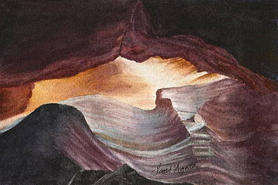 Antelope Canyon Watercolor Art Print by Frank SantAgata