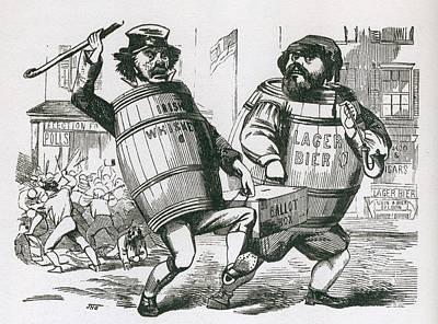 Anti-immigrant Cartoon Showing Two Men Art Print by Everett