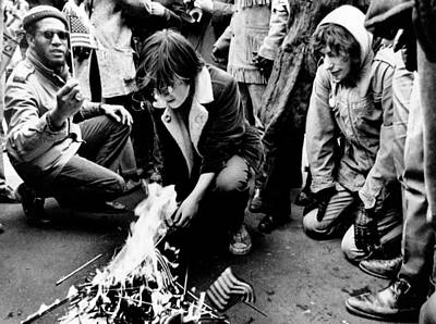 Anti-war Photograph - Anti-war Demonstrators Burn Small by Everett