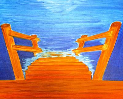 Wooden Stairs Painting - Anticipation by Michele Moore