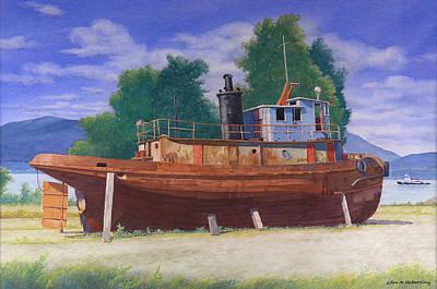 Antiquated Hudson River Tug Art Print by Glen Heberling