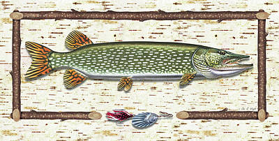 Tree Bark Painting - Antique Birch Pike And Lure by JQ Licensing