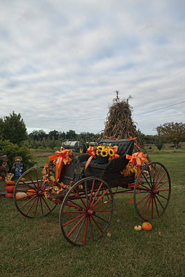 Antique Buggy In Fall Colors Art Print by Kathy Clark