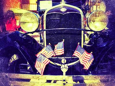 Photograph - Antique Car With Flags by Nora Martinez