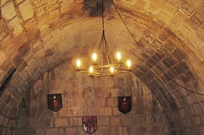 Photograph - Antique Chandelier Lighting Inside Peniscola Castle Spain by John Shiron