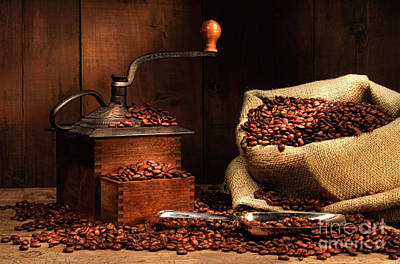 Antique Coffee Grinder With Beans Art Print by Sandra Cunningham